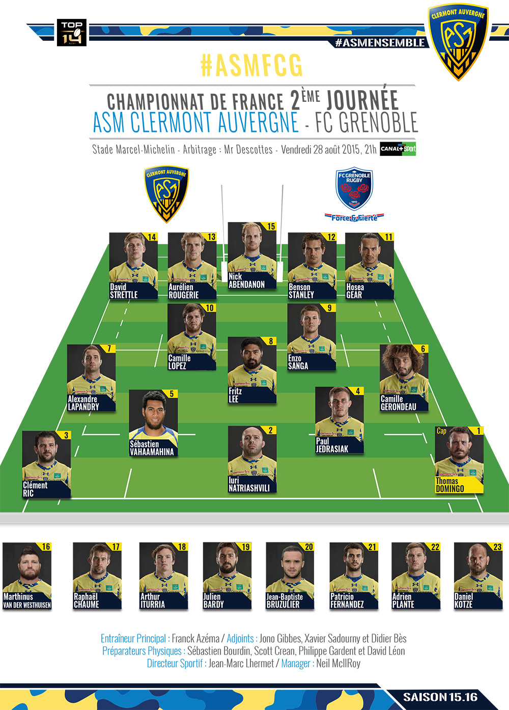 ASM Clermont - Grenoble 150827-compo-2