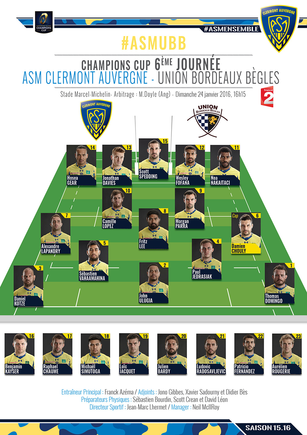 ASM Clermont - Bordeaux Bègles 160122-compo-2