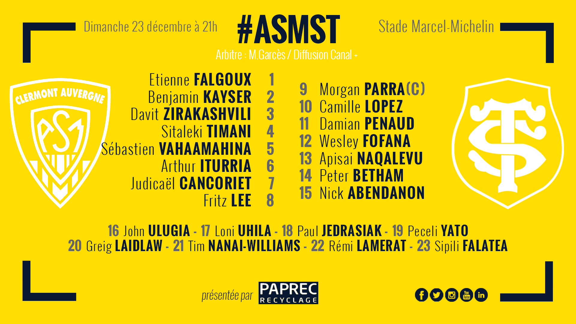 ASM Clermont - Toulouse 181222-compo-site-2