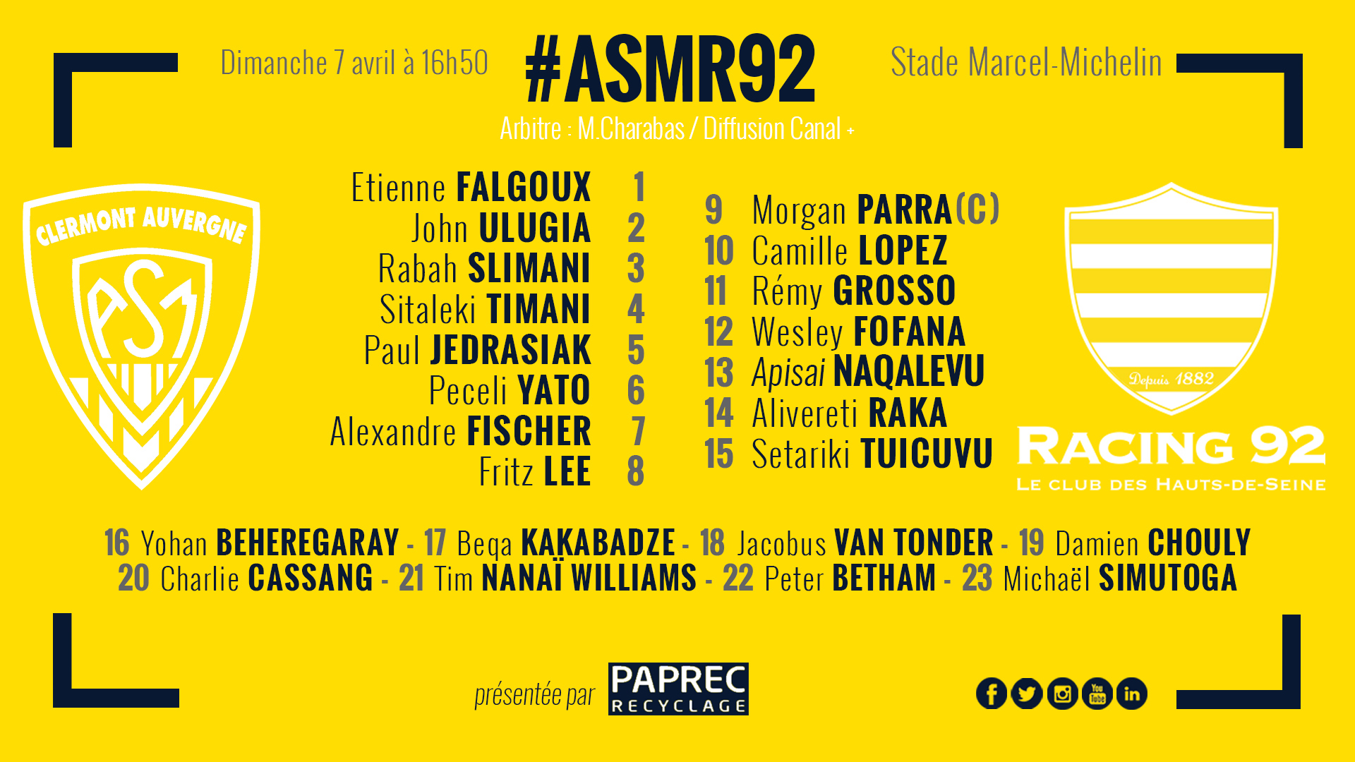 ASM Clermont - Racing 92 Compo-site-racing